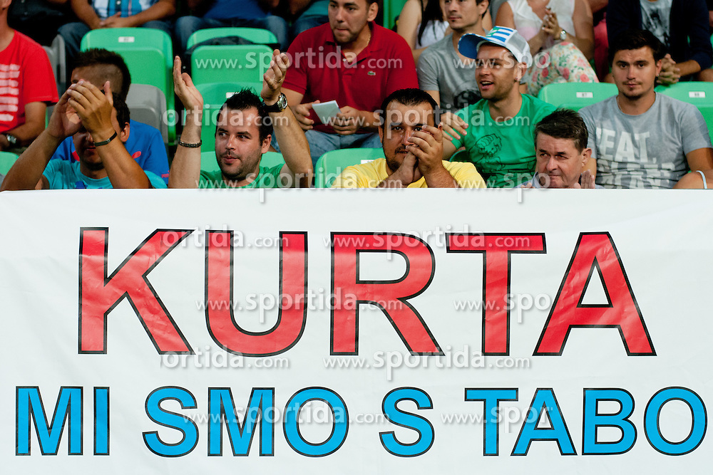 Fans of Slovenia cheering for Jasmin Kurtic during friendly football match between national teams of Slovenia and Romania, on August 15, 2012 in Ljubljana, Slovenia.  (Photo by Matic Klansek Velej / Sportida.com)
