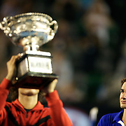 Roger Federer breaks down crying during the trophy presentation after he was defeated by Rafael Nadal in the Men's Singles Final at the Australian Tennis Open on February 1, 2009 in Melbourne, Australia. Photo Tim Clayton    .