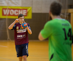 09.12.2014, Sporthalle, Leoben, AUT, OeHB-Cup Achtelfinale, Union JURI Leoben vs SG INSIGNIS Handball West Wien, im Bild Sebastian Spendier (Leoben) // durning the OeHB-Cup, Round of the last sixteen, between, Union JURI Leoben vs SG INSIGNIS Handball West Wien at the Sport Hall, Leoben, Austria on 2014/12/09, EXPA Pictures © 2014, PhotoCredit: EXPA/ Dominik Angerer