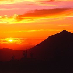 Sunset Over the Mt. Margaret Backcountry, Mt. St. Helens National Volcanic Monument, Washington, US