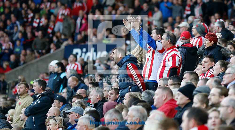Irate Sunderland fans during the Barclays Premier League match at the Stadium Of Light, Sunderland<br /> Picture by Simon Moore/Focus Images Ltd 07807 671782<br /> 09/11/2014
