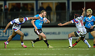 Josh Jones of Salford Red Devils looks for a gap during the Betfred Super League match at Belle Vue, Wakefield<br /> Picture by Richard Land/Focus Images Ltd +44 7713 507003<br /> 09/02/2018