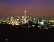 AA00003-01...WASHINGTON - A 1982 photo of the Seattle skyline at sunset from Queen Anne Hill with Mount Rainier in the distance.