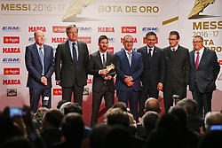 November 24, 2017 - Barcelona, Catalonia, Spain - Barcelona's Argentinian forward Lionel Messi poses with the 2017 European Golden Shoe honouring the year's leading goalscorer during a ceremony at the Antigua Fabrica Estrella Damm in Barcelona on November 24, 2017. (Credit Image: © Urbanandsport/NurPhoto via ZUMA Press)