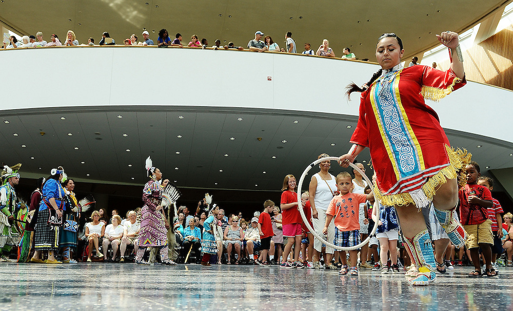 7/7/16 :: REGION :: STAND ALONE ::  Annual Educational Powwow at the Mashantucket Museum and Research Center Thursday, July 7, 2016. The Educational Powwow is a narrated exhibition showcasing Native American dancers and the significance of this cultural gathering for indigenous people. The event was free with museum admission. Eastern woodland cuisine was offered in the restaurant and native artists were set up demonstrating and selling their crafts. (Sean D. Elliot/The Day)