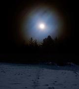 bright full moon in winter