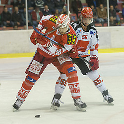 02.10.2015, Stadthalle, Klagenfurt, AUT, EBEL, EC KAC vs HC TWK Innsbruck Die Haie, im Bild Jean-François Jacques (EC KAC, #39), Nick Schaus (HC TWK Innsbruck Die Haie #55) // during the Erste Bank Eishockey League match betweeen EC KAC and HC TWK Innsbruck Die Haie at the City Hall in Klagenfurt, Austria on 2015/190/02. EXPA Pictures © 2015, PhotoCredit: EXPA/ Gert Steinthaler