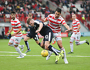 Dundee's Rhys Healey tumbles under the challenge of Hamilton Academical's Lucas Tagliapietra  - Hamilton Academical v Dundee, Ladbrokes Premiership at New Douglas Park<br /> <br /> <br />  - &copy; David Young - www.davidyoungphoto.co.uk - email: davidyoungphoto@gmail.com