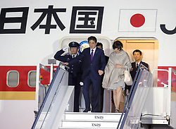 Japanese Prime Minister Shinzo Abe and his wife Akie Abe arrive at the airport at CFB Bagotville, Que., Canada for the annual summit of G7 leaders on Thursday, June 7, 2018. The event will be held in La Malbaie, in the Charlevoix region of Quebec. Photo by Andrew Vaughan/CP/ABACAPRESS.COM