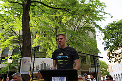 June 1, 2017 - Munich, Bavaria, Germany - Dominik Krause (Grüne) speaking..More than 750 people gathered in front of the bavarian ministry of education in Munich to protest against deportations. Several politicians and artists  joined the protest..After a student from Afghanistan was arrested in Nürnberg during school to be deportated, around 200 other students protested tried to stop the deportation. Police officers attacked very heavily the spontanious protest in Nürnberg. (Credit Image: © Alexander Pohl/Pacific Press via ZUMA Wire)