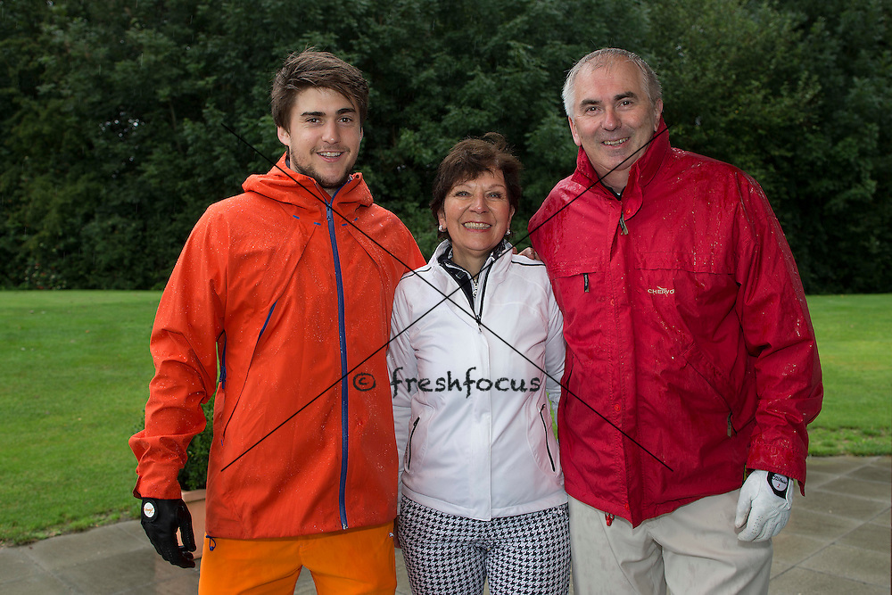 30.07.2014; Luterbach; Eishockey - Swiss Ice Hockey Golf Trophy 2014;   Robin Grossmann, Theresia Muench und Urs Weder vl.(Christian Pfander/freshfocus)