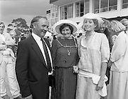 """Best Dressed Lady at Phoenix Park Races.1984..11.08.1984..08.11.1984.11th August 1984..A competition,sponsored by V'Soske Joyce,was held at the Phoenix Park Racecourse,Dublin.The prize of a hand tufted rug was awarded to the """"Best Dressed Lady"""" on Ladies Day at the racecourse. The eventual winner was Brianne Leary from Los Angeles,California..Image of the Director of the sponsors, V'Soske Joyce ltd,Oughterard,Galway, Mr Michael Dixon and the Best Dressed Lady,Ms Brianne Leary (right) after the decision was reached. Unfortunatly the lady in the centre is not known to us,If you know who she is why not contact us at irishphotoarchive@gmail.com ."""