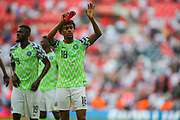 Nigeria forward Alex Iwobi (18) acknowledges the visiting fans after the Friendly International match between England and Nigeria at Wembley Stadium, London, England on 2 June 2018. Picture by Toyin Oshodi.