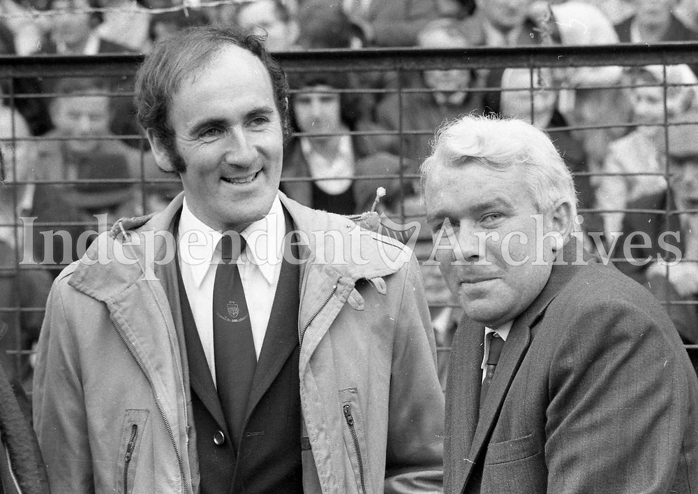 1973 All-ireland senior hurling final.<br /> Limerick v Kilkenny<br /> Eddie Keher and Jim Treacy forced to miss the game because of injury.  <br /> (Part of the Independent Newspapers Ireland/NLI collection.)