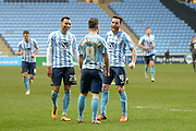 Coventry City Striker Adam Armstrong celebrates with his team mates during the Sky Bet League 1 match between Coventry City and Bury at the Ricoh Arena, Coventry, England on 13 February 2016. Photo by Dennis Goodwin.