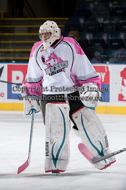 KELOWNA, CANADA - NOVEMBER 8: Jackson Whistle #1 of the Kelowna Rockets warms up against the Prince George Cougars on November 8, 2013 at Prospera Place in Kelowna, British Columbia, Canada.   (Photo by Marissa Baecker/Getty Images)  *** Local Caption *** Jackson Whistle;