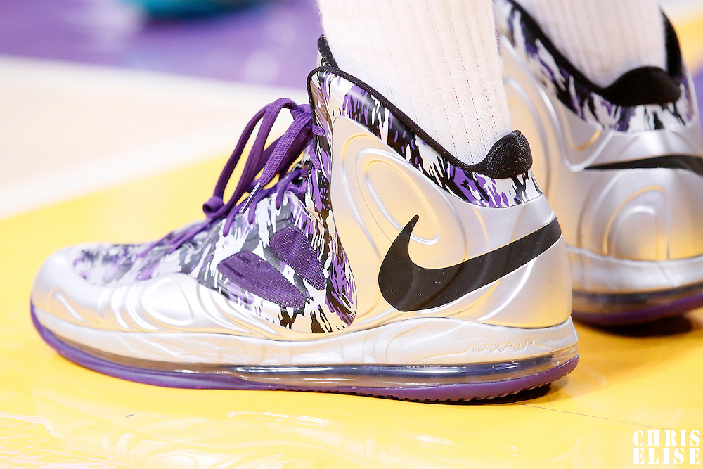 28 February 2014: Close view of Sacramento Kings small forward Rudy Gay (8) shoes during the Los Angeles Lakers 126-122 victory over the Sacramento Kings at the Staples Center, Los Angeles, California, USA.
