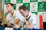 (L) Jerzy Janowicz &amp; (R) Radoslaw Szymanik - captain national team both of Poland while press conference after lost game during the BNP Paribas Davis Cup 2014 between Poland and Croatia at Torwar Hall in Warsaw on April 6, 2014.<br /> <br /> Poland, Warsaw, April 6, 2014<br /> <br /> Picture also available in RAW (NEF) or TIFF format on special request.<br /> <br /> For editorial use only. Any commercial or promotional use requires permission.<br /> <br /> Mandatory credit:<br /> Photo by &copy; Adam Nurkiewicz / Mediasport