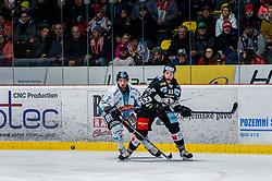 18.11.2018, Ice Rink, Znojmo, CZE, EBEL, HC Orli Znojmo vs EHC Liwest Black Wings Linz, 20. Runde, im Bild v.l. Aaron Brocklehurst (EHC Liwest Black Wings Linz) Radim Matus (HC Orli Znojmo) // during the Erste Bank Eishockey League 20th round match between HC Orli Znojmo and EHC Liwest Black Wings Linz at the Ice Rink in Znojmo, Czechia on 2018/11/18. EXPA Pictures © 2018, PhotoCredit: EXPA/ Rostislav Pfeffer