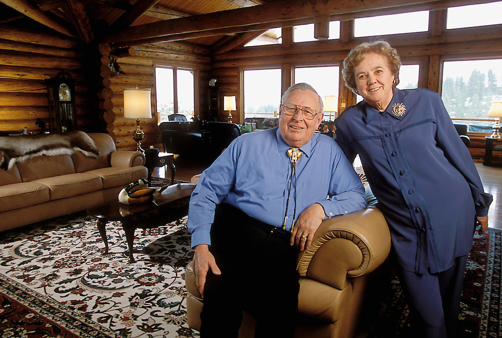 Couple in log cabin