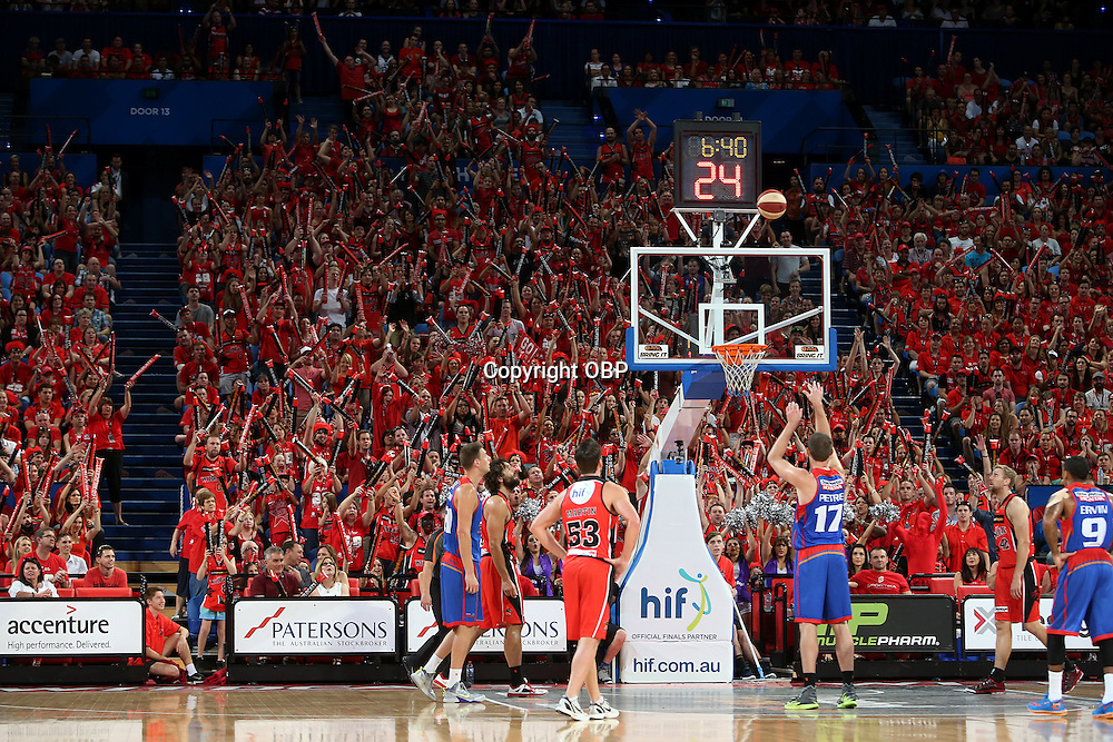 Adelaides Anthony Petrie attempts a free throw. Perth Wildcats Vs Adelaide 36ers, NBL Basketball, Perth Arena, PERTH, Western Australia. Sunday, 13 April, 2014. Photo: Travis Hayto / photosport.co.nz
