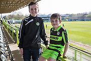 Young FGR supporters during the EFL Sky Bet League 2 match between Forest Green Rovers and Chesterfield at the New Lawn, Forest Green, United Kingdom on 21 April 2018. Picture by Shane Healey.