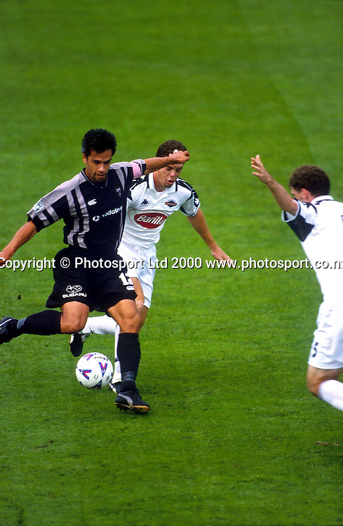 Harry Ngata in action for the Football Kingz against Adelaide in the Australian National Soccer League 99/00. Photo: Andrew Cornaga/Photosport.co.nz