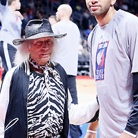 08 November 2014: Fashion icon James Goldstein poses next to Portland Trail Blazers forward Nicolas Batum (88) prior to the Los Angeles Clippers 106-102 victory over the Portland Trail Blazers, at the Staples Center, Los Angeles, California, USA.