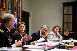 President Barack Obama receives an update on the Ebola outbreak in West Africa and the administration's response efforts, in the Roosevelt Room of the White House, Oct. 6, 2014. Pictured, from left, are: Gen. Martin Dempsey, Chairman of the Joint Chiefs of Staff; Health and Human Services Secretary Sylvia Mathews Burwell; Lisa Monaco, Assistant to the President for Homeland Security and Counterterrorism; National Security Advisor Susan E. Rice; and Homeland Security Jeh Johnson. (Official White House Photo by Pete Souza)<br /> <br /> This official White House photograph is being made available only for publication by news organizations and/or for personal use printing by the subject(s) of the photograph. The photograph may not be manipulated in any way and may not be used in commercial or political materials, advertisements, emails, products, promotions that in any way suggests approval or endorsement of the President, the First Family, or the White House.