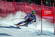 U.S. Ski Team athlete Travis Ganong skiing to i16th place in the Birds of Prey Alpine Downhill ski race at The Beaver Creek Resort in Avon, CO on November 30, 2012.