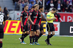 23.10.2011,  BayArena, Leverkusen, GER, 1.FBL, Bayer 04 Leverkusen vs Schalke 04, im Bild.Leverkusener Spieler geschlossen beim Schiedsrichter nach dem 0:1..// during the 1.FBL, Bayer Leverkusen vs Schalke 04 on 2011/10/23, BayArena, Leverkusen, Germany. EXPA Pictures © 2011, PhotoCredit: EXPA/ nph/  Mueller       ****** out of GER / CRO  / BEL ******