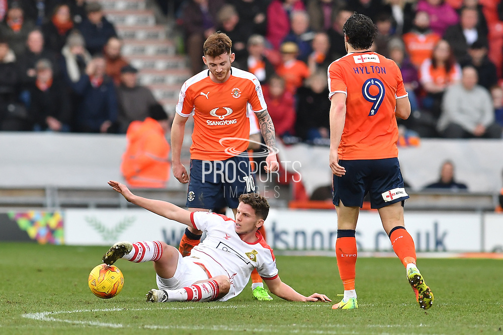 Jordan Houghton (16) Doncaster Rovers midfielder brought down during the EFL Sky Bet League 2 match between Doncaster Rovers and Luton Town at the Keepmoat Stadium, Doncaster, England on 18 February 2017. Photo by Ian Lyall.