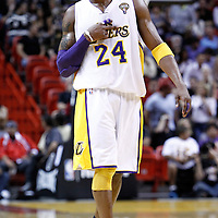 10 March 2011: Los Angeles Lakers shooting guard Kobe Bryant (24) is seen during the Miami Heat 94-88 victory over the Los Angeles Lakers at the AmericanAirlines Arena, Miami, Florida, USA.