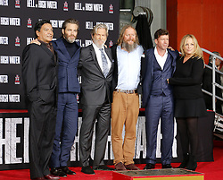 Gil Birmingham, Chris Pine, Jeff Bridges, David Mackenzie, Taylor Sheridan and Julie Yorn at Jeff Bridges Hand And Footprint Ceremony held at the TCL Chinese Theatre IMAX in Hollywood, USA on January 6, 2017.