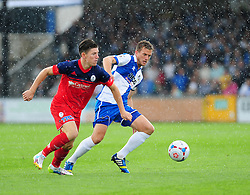 Bristol Rovers' Lee Mansell challenges AFC Telford's Sean Clancy - Photo mandatory by-line: Neil Brookman - Mobile: 07966 386802 23/08/2014 - SPORT - FOOTBALL - Bristol - Memorial Stadium - Bristol Rovers v AFC Telford - Vanarama Football Conference