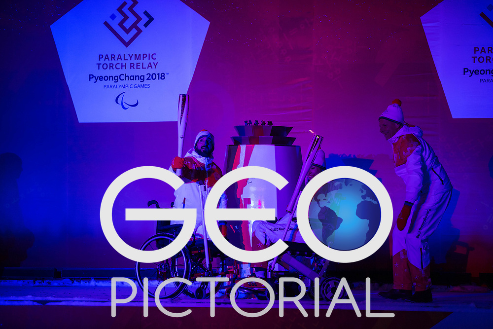 Flame lighting ceremony for the Pyeonchang Winter Paralympics 2018 at Stoke Mandeville Stadium hosted by Wheelpower on 2nd March 2018