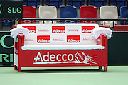 The Davis Cup (Tennis world cup) Israel Vs Slovenia players resting bench