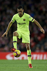 February 10, 2019 - Bilbao, Vizcaya, Spain - Sergio Busquets of Barcelona during the week 23 of La Liga between Athletic Club and FC Barcelona at San Mames stadium on February 10 2019 in Bilbao, Spain. (Credit Image: © Jose Breton/NurPhoto via ZUMA Press)