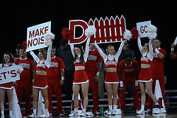 November 14, 2017 - Oxford, Ohio, U.S - Miami (Oh) Redhawks cheerleader yells for the Redhawks. During there game in Oxford ,Ohio as they win in Overtime 73 to 67  over the Wright State Raiders. (Credit Image: © Ernest Coleman via ZUMA Wire)
