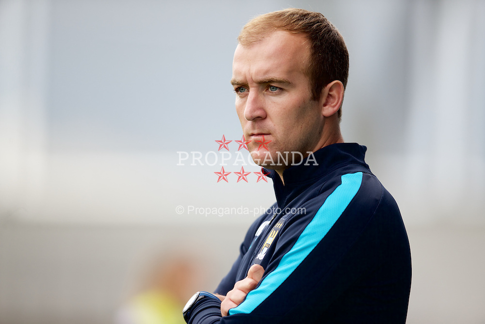 MANCHESTER, ENGLAND - Sunday, August 30, 2015: Manchester City manager Nick Cushing before the League Cup Group 2 match at the Academy Stadium. (Pic by Paul Currie/Propaganda)