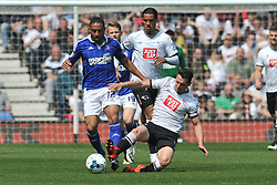DERBY RICHARD KEOGH SLIDES IN ON IPSWICH LIAM FEENEY, Derby County v Ipswich Town, Championship, The ipro Stadium, Saturday 7th MAY 2016<br /> Photo:Mike Capps