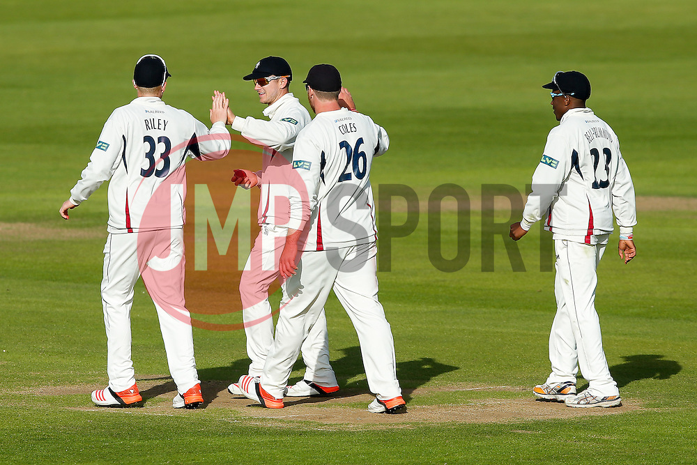 Joe Denly of Kent (2L) celebrates after he catches Craig Miles of Gloucestershire for 4 - Photo mandatory by-line: Rogan Thomson/JMP - 07966 386802 - 18/05/2015 - SPORT - CRICKET - Bristol, England - Bristol County Ground - Gloucestershire v Kent - Day 1 - LV= County Championship Division Two.