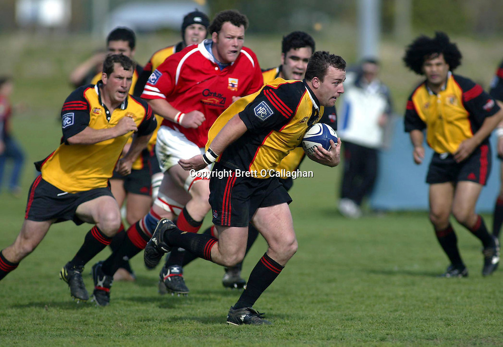 Steven Hill in action during the NPC Division 2 match between Marlborough and Thames Valley, Rhodes Park, Thames, September 18 2004. Malborough won 56-21. <br />