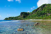 Pretty bay and turquoise water in Tau Island, Manuas, American Samoa, South Pacific