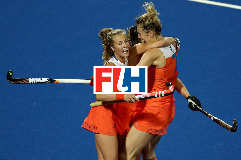 RIO DE JANEIRO, BRAZIL - AUGUST 08:  Willemijn Bos #7, Xan de Waard #3 and Kelly Jonker #10 of Netherlands react to a goal against Korea during a Women's Pool A match on Day 3 of the Rio 2016 Olympic Games at the Olympic Hockey Centre on August 8, 2016 in Rio de Janeiro, Brazil.  (Photo by Sean M. Haffey/Getty Images)