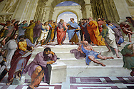 The school of Athens by Raphael  paintings in the Vatican, Rome