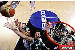 Jorge Garbajosa of Spain vs Primoz Brezec of Slovenia during the fifth-place basketball match between National teams of Slovenia and Spain at 2010 FIBA World Championships on September 10, 2010 at the Sinan Erdem Dome in Istanbul, Turkey.   (Photo By Vid Ponikvar / Sportida.com)