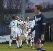 Dundee's Steven Milne is congratulated by Gavin Rae after opening the scoring - Ross County v Dundee - Irn Bru Scottish Football League First Division at Victoria Park, Dingwall..- © David Young - .5 Foundry Place - .Monifieth - .DD5 4BB - .Telephone 07765 252616 - .email; davidyoungphoto@gmail.com - .web; www.davidyoungphoto.co.uk