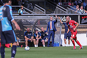 Luke Summerfield takes a free kick with Russ Wilcox looking on during the Sky Bet League 2 match between Wycombe Wanderers and York City at Adams Park, High Wycombe, England on 8 August 2015. Photo by Simon Davies.