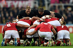 The New Zealand front row prepare to scrum - Mandatory byline: Patrick Khachfe/JMP - 07966 386802 - 09/10/2015 - RUGBY UNION - St James' Park - Newcastle, England - New Zealand v Tonga - Rugby World Cup 2015 Pool C.